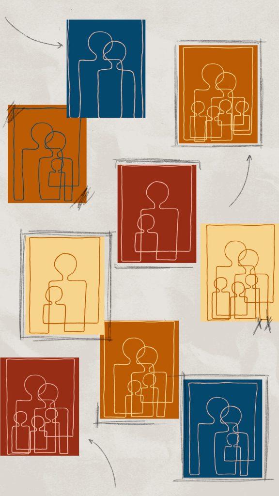 Familie lijntekeningen van Atelier Andrea